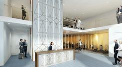 An artist's impression of the new entrance lobby at 20 Adelaide Street