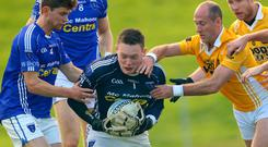 Hands on: Scotstown's Damien McArdle (left) and goalkeeper Rory Beggan (centre) with Martin Carey (right) and Vincent Corey (far right) of Clontibret