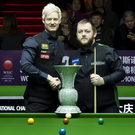 Shake on it: Neil Robertson and Mark Allen before their Daqing final