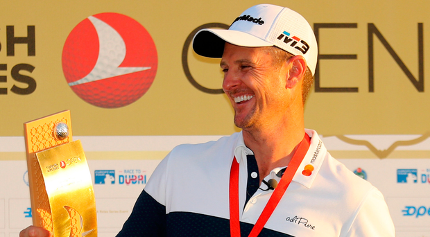 Happy days: Justin Rose after retaining Turkish Airlines Open
