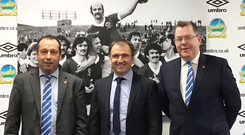 All smiles: Linfield chairman Roy McGivern, new general manager Pat Fenlon and vice-chairman Jonathan Wilson