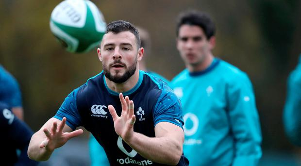 Safe hands: Robbie Henshaw at Ireland training at Carton House yesterday