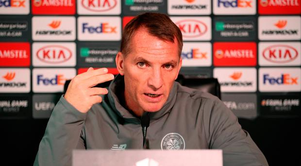 Crunch time: Celtic boss Brendan Rodgers faces the media in Glasgow yesterday ahead of tonight's big match against Leipzig