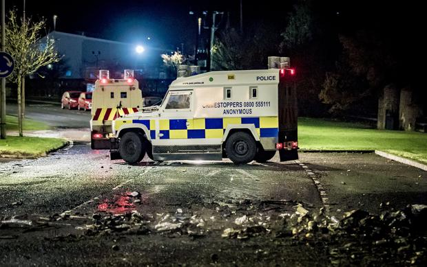 Police at the scene of overnight disturbances in the Linn road area of Larne on November 8th 2018 (Photo by Kevin Scott for Belfast Telegraph)