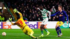 Decisive say: Odsonne Edouard slots home the winner for Celtic