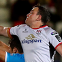 High hopes: Ulster's Alex Thompson tries to outjump Diego Magno