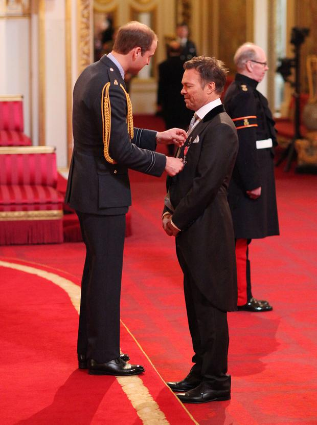 Pete Tong is made a Member of the Order of the British Empire (MBE) by the Duke of Cambridge during an Investiture ceremony at Buckingham Palace.