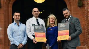 Fergus Campbell, head of communications at gumtree, Chief Superintendent Simon Walls, Debbie Watters,vice chair NI Policing Board and one of the UK's most renowned scammers Tony Sales at the ScamwiseNI event at Riddell Hall. Pic Colm Lenaghan/ Pacemaker