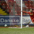 Cliftonville's Joe Gormley pictured after scoring his team's second goal during the game at Solitude in Belfast. Picture By: Arthur Allison/Pacemaker Press