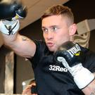 Hungry eyes: Carl Frampton during the public workout at Hatton Health and Fitness, Manchester