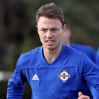 Hard at it: Jonny Evans is looking forward to the clash with the Republic, while Bobby Burns has been called up to the team
