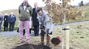 Her Royal Highness The Princess Royal planting an oak tree with Patrick Cregg, Director of the Woodland Trust. Picture: Michael Cooper