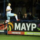 Ballymena's Jude Winchester celebrates his goal during this evening's game at Bangor Arena, Bangor. Photo by David Maginnis/Pacemaker Press
