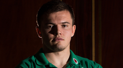 Focused: Jacob Stockdale at Ireland's base at Carton House yesterday ahead of Saturday's huge clash with All Blacks