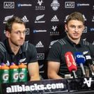 Confident outlook: Ben Smith (left) and Beauden Barrett address the media yesterday ahead of the Ireland showdown