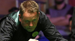 Moving on: Joe Swail on his way into the second round of the NI Open after his win yesterday