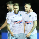 Late, late show: James Knowles (left) and Jude Winchester show their relief after Ballymena United snatched a late victory over Ards last night