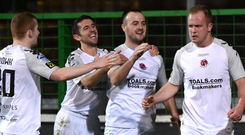 Crues control: Crusaders players congratulate two-goal hero Jordan Owens