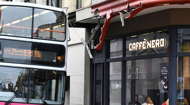 For the second time in a matter of months a Belfast Translink bus has crashed into the same Caffe Nero at Lower North Street in the centre of Belfast - it should be noted the bus in the picture was not the one involved in the crash - Credit: Alan Lewis/ PhotopressBelfast.co.uk