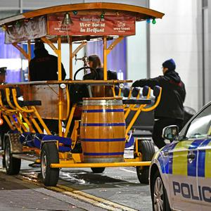 Police investigate at the scene of a serious incident involving a pedal beer wagon at Amelia Street at the rear of Robinson's Bar in Belfast city centre. Pic Alan Lewis.