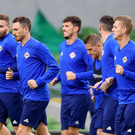 Feeling good: Northern Ireland players enjoy their final training session ahead of tonight's clash at the Aviva Stadium