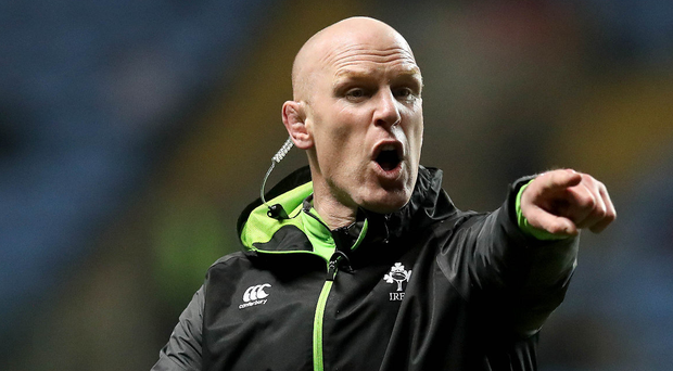 Big man: Ireland legend Paul O'Connell coaching during the recent U-20s Six Nations