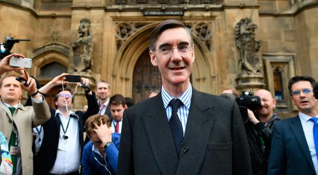 Conservative MP Jacob Rees-Mogg speaking outside the House of Parliament in London after he handed in his letter of no-confidence to Sir Graham Brady, chairman of the 1922 Committee