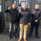 Paul Golding with supporters outside Ballymena Magistrates' Court.
