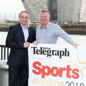 Jim Gracey (Right) launches the Belfast Telegraph Sports Awards with Chris Nelmes, Boulevard Centre Manager.