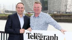 Jim Gracey (Right) launches the Belfast Telegraph Sports Awards