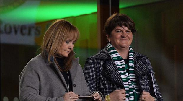DUP Leader Arlene Foster during this evenings game between N Ireland and the Rep of Ireland at the Aviva Stadium in Dublin - Credit: Colm Lenaghan/Pacemaker Press
