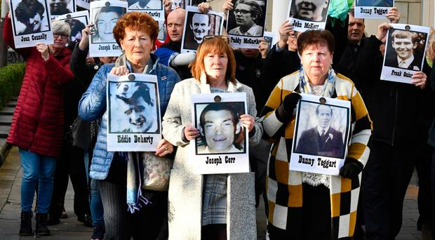 From left: Kathleen McGarry, Eileen McKeown and Alice Harper, relatives of victims Eddie Doherty, Joseph Corr and Danny Teggart, yesterday