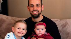 Proud dad: Tony with children Bradain and Emira