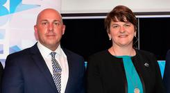 Dee Stitt and former First Minister Arlene Foster attend the Social Investment Fund's Belfast East Employability Project