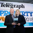 Belfast Telegraph Property Awards 2018 in the Crowne Plaza, Belfast. Bill Wolsey Director of Beannchor Group with his wife Petra. Photo by Kelvin Boyes / Press Eye.
