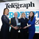 Press Eye - Belfast - Northern Ireland - 16th November 2018 Belfast Telegraph Property Awards 2018 in the Crowne Plaza, Belfast. 17.	Property Personality of the Year Ð Bill Wolsey Bill Wolsey Director of Beannchor Group Presenter: Sarah Little INM Publishing Director, NI Pictured l-r: Sarah Little, Bill Wolsey, Petra Wolsey and Gail Walker. Photo by Kelvin Boyes / Press Eye.