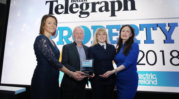 Belfast Telegraph Property Awards 2018 in the Crowne Plaza, Belfast. Pictured l-r: Sarah Little, Bill Wolsey, Petra Wolsey and Gail Walker. Photo by Kelvin Boyes / Press Eye.