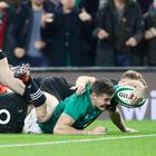 Ireland's Jacob Stockdale scores a try during the Autumn International match at the Aviva Stadium, Dublin. Niall Carson/PA Wire.