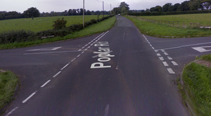 The incident occurred on the Ballydonaghy Road/Poplar Road junction in Crumlin. Credit: Google.
