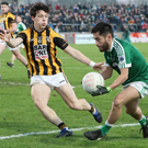 My ball: Crossmaglen's James Morgan tries to block Naoise O'Baoil