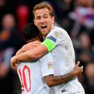 Hit winner: Harry Kane sends England into semi finals