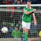 Hard to take: Jonny Evans shows his annoyance at Austria's late winner