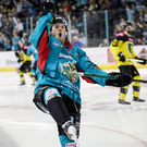 How's that: Belfast Giants' Darcy Murphy enjoys scoring against GKS Katowice
