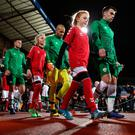 Players walk out for the UEFA Nations League, Group B4 match at Ceres Park, Aarhus / Credit: Simon Cooper/PA Wire