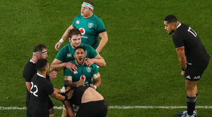 History boys: Ireland's Bundee Aki, Iain Henderson and Sean Cronin celebrate at the final whistle