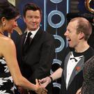 The Duchess of Sussex meets Rick Astley and Lost Voice Guy on stage at the Royal Variety Performance at the London Palladium in central London.