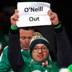 Warning sign: A Republic of Ireland fan makes his feelings about Martin O'Neill known in Aarhus