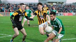 Final hurdle: Crossmaglen goalkeeper Jamie McEvoy and James Morgan with Naoise OBaoill of Gaoth Dobhair