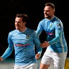Hotshots: goalscorer Andy McGrory (left) and Jude Winchester celebrate putting Glentoran to the sword last night
