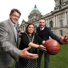 Gareth Maguire, CEO Sport Changes Life, Lord Mayor Dierdre Hargey and Marc Mulholland executive director of Basketball Hall of Fame Belfast Classic